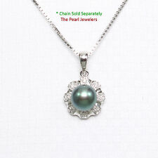 14k Solid White Gold Surrounded 8 Diamonds Black Cultured Pearl Pendant 0.75""