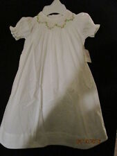 BABY SMOCKED DAYGOWN WHITE HEIRLOOM WT GREEN & PK STITCHING REMEMBER NGUYEN