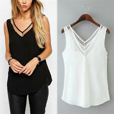 A Fashion Womens V-Neck Vest Summer Loose Sleeveless Casual Tank T-Shirt Blouse