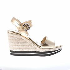 PRADA women shoes Gold spazzolato leather wedge sandal with ankle strap