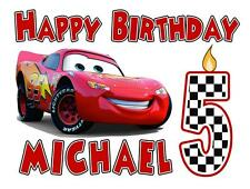 CARS BIRTHDAY T-SHIRT Personalized Any Name/Age 2T to Adult Lightning McQueen