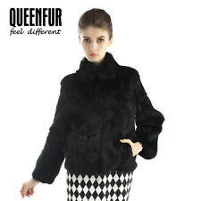 Queenfur Real Whole Skin Rabbit Fur Coat Natural Rabbit  Fur Jacket Warm Outwear