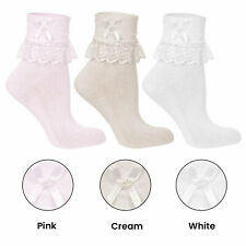 3 Pairs Chic Wedding Jester Socks With Lace Frill For Girls Various Sizes