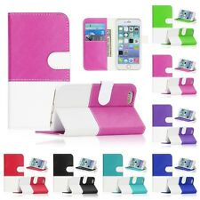 For Apple iPhone 6S 4.7 / 5.5 Plus Hybrid Bi Color PU Leather Wallet Cover Case