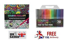 NEW COLOUR THERAPY ANTI STRESS COLOURING BOOK 20 FINE TIP FELT PENS ADULT SQ