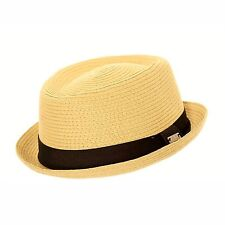 Unisex Beige Crushable Straw Summer Pork Pie Trilby Hat With Striped Band