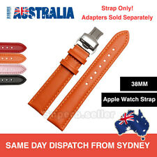 Premium 20MM Leather 38MM Apple Watch Band Strap Deployment Buckle w/o Adapter