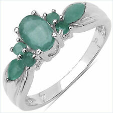 Gorgeous 0.90 CTW Genuine Natural Emerald .925 Sterling Silver Ring