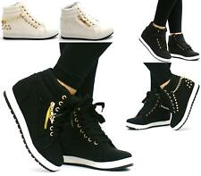 NEW LADIES LACE UP GOLD ZIP HI-TOP HIDDEN WEDGE DIAMANTE WHITE TRAINERS ANKLE BO