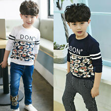 Kid Boys Cotton Long Sleeve T-shirt Floral Letters Print Casual Costume Tops New