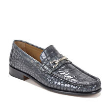 Bruno Magli Men's Bice Croc-Print Loafer Grey Leather Shoes Handmade in Italy