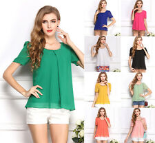 New Korean Fashion Women's Loose Chiffon Tops Short Sleeve Shirt Casual Blouse Q
