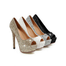 Women's Sequined Sexy Clubwear Platform Shoes High Heel Open Toes Sandals S049