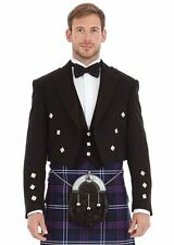 Scottish Black Formal Prince Charlie Kilt Jacket in wool with Waistcoat in Vario