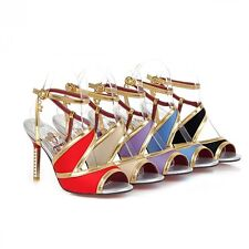 Fashion Women's Ankle Strap Sandals Synthetic Leather High Heel Pumps Shoes S069