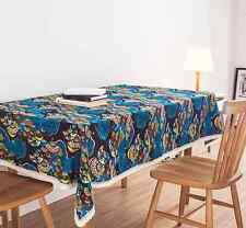 Elegant Pattern Blue Fan Dinning Coffee Table Cotton Linen Cloth Covering O