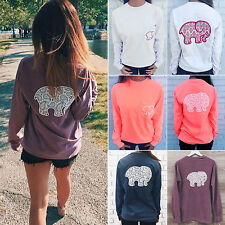 Womens Elephant Tribal T-shirt Blouse Long Sleeve Pullover Jumper Sweatshirt Top