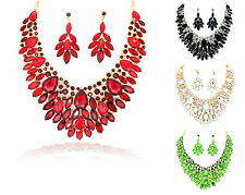 Diamante Crystal Large Statement Necklace Earring Set Wedding Party Prom Bridal