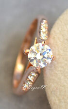 18K Rose Gold GP Austrian Crystal Ring Engagement Wedding Stackable