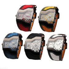 OULM Mens Sports Military Army Dual Time Zones Movements Quartz Watch Leather