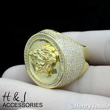 925 STERLING SILVER LAB DIAMOND ICED OUT BLING MEDUSA HEAD GOLD ROUND RING*ASR46