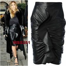 Ladies New Celeb Wet Look PVC Frill Ruched Ladies Bodycon Pencil Midi Skirt 6-14