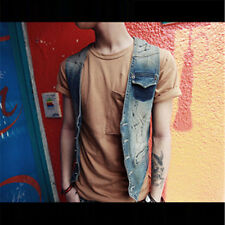 Men's Vest Cowboy Denim Waistcoat Boys Girls Sleeveless Coat Jeans Jacket M-2XL