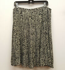 JONES NEW YORK Size 12 14 16 Black Beige Print Pleated Side Zip Below Knee Skirt