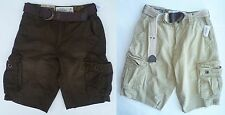 Mens Men's AEROPOSTALE Aero Belted Ripstop Cargo Shorts Longer Length NWT #7231