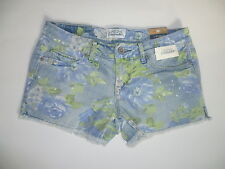 Womens AEROPOSTALE Faded Floral Medium Wash Denim Shorty Shorts NWT #0416