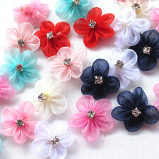 30/150pcs Organza Ribbon Flowers Bows W/Rhinestone Appliques Wedding Mix