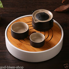 Chinese tea set bamboo tea tray portable tea pot 180ml pottery tea cups black