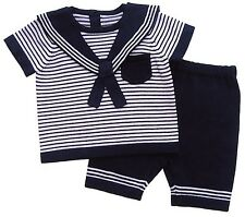 Baby Boys Knitted Cotton Two Piece Sailor Suit/Outfit 3-6 6-9 Month Summer