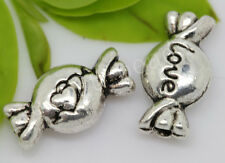 60/300pcs Tibetan Silver two-sided candy Jewelry Charms Spacer Beads 11x6mm
