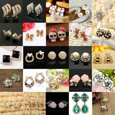 Fashion Pearl Crystal Rhinestone Gold/Silver Plated Earring Ear Stud Jewelry Set