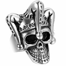 Mens Gothic Punk Stainless Steel Funny Clown Skull Skeleton Biker Ring Size 7-12