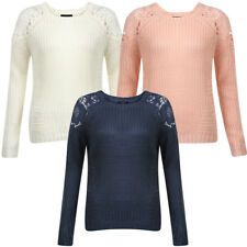 New Womens Amara Leya Lacey Ladies Lace Knitted Long Sleeve Jumper Top Size 8-16