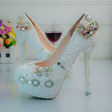 Colorful Heart 2 Pearl White Wedding Ball Club Shoe High Heels Evening Party O