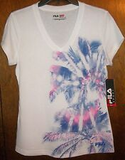 Womens Shirt FILA SPORT White w Pink & Blue Gray Palm Trees Moisture Wicking NWT