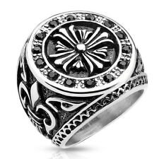 Men's Stainless Steel Cast Ring Band with Celtic Cross Black CZ Fleur De Lis