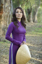 Purple Silk, AO DAI Vietnam CUSTOM MADE, Dress and White Pant HT3218