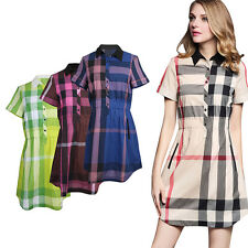 Ladies Patchwork Business Plaid Print Tartan Short Sleeve Collared Shirt Dress