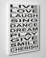 Large Live Love Laugh Sing Dance Dream Quote Canvas Print Wall Art Readyto Hang