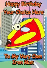 Iron Man Superhero Humour Occasions Personalised Greeting Card Birthday PIDFD39