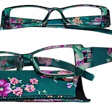 +1.00 - +4.00  Pink Flowers Dark Green Reading Glasses Spring Temple Hinges Case