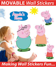Peppa Pig Personalised Wall Sticker Decal Set Easy Remove Reuse