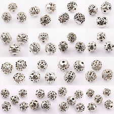 Wholesale 10/20Pcs Silver Plated Loose Spacer Beads Charms Jewelry Making DIY