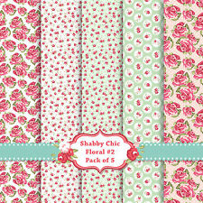 Shabby Chic Floral A4 Card Stock 5 PACK! Scrapbook Craft Decoupage Card SC2