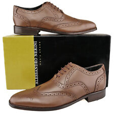 Mens New Formal Smart Brown Leather Brogues Shoes leather soles  7 8 9 10 11 12