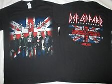 DEF LEPPARD 2016 US TOUR T-SHIRT Mens S, UK BRITISH FLAG, Black Uni Deaf Leopard